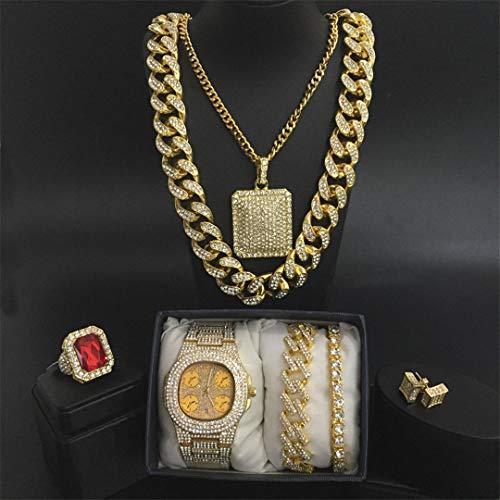 MTRESBRALTS - Reloj para hombre con diseño de hip hop cubano, collar y pulsera con colgante de anillo y conjunto, conjunto de joyas para hombre, color marrón