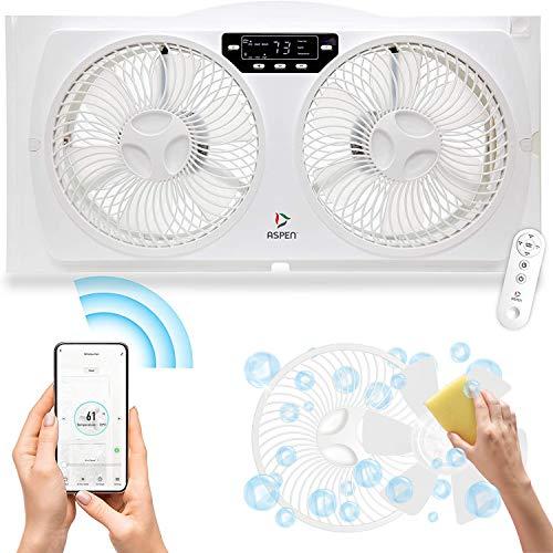 ASPEN Smart Window Dual Fan | WiFi App Controlled 3 Speed + Multi-Function Detachable Blades Easy Clean Reversible Air Flow Twin Window Fan | Compatible with Alexa, Google Assistant