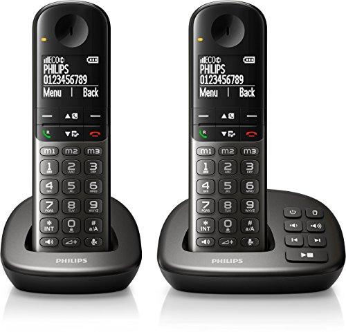 Philips XL4952DS/38 schnurloses Telefon (leicht bedienbar, große Tasten, hörgerätekompatibel) schwarz