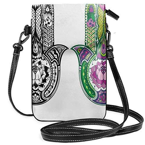 Jiger Women Small Cell Phone Purse Crossbody,Hand Drawn Symbols With Flourishing Lotus Flowers Ancient Protection Power Icons