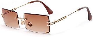 SHEEN KELLY Occhiali da sole quadrati Ultra-Small Frame per donna Uomo Rectangle Retro occhiali da sole senza montatura co...