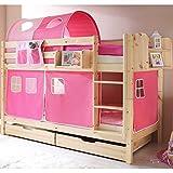 Pharao24 Kinderhochbett pink Natur Superhigh Breite 99 cm Tiefe 208 cm Bettkasten Nein Hängeregal Nein Stofftunnel Ja