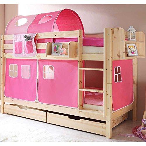Pharao24 Kinderhochbett pink Natur Superhigh Breite 99 cm Tiefe 208 cm Bettkasten Nein Hängeregal Nein Stofftunnel Nein