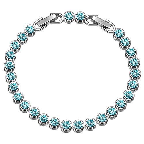 Susan Y regalo di natale tennis braccialetti donna cristalli da swarovski originali idee regalo natale bracciale idee regalo donna regali natale donna idee regalo(Turchese chiaro)