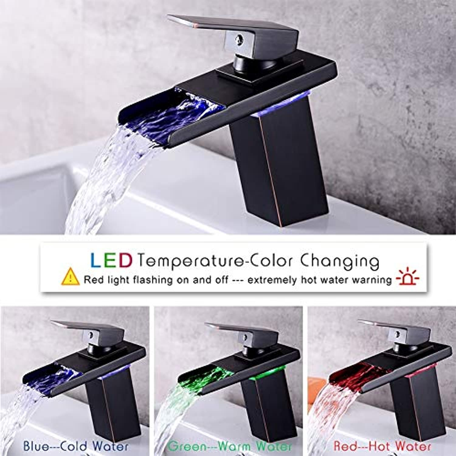Led Sensor color Changing Bathroom Faucet Black Chrome Basin Faucet Waterfall Spout Hot and Cold Water Single Handle Faucet