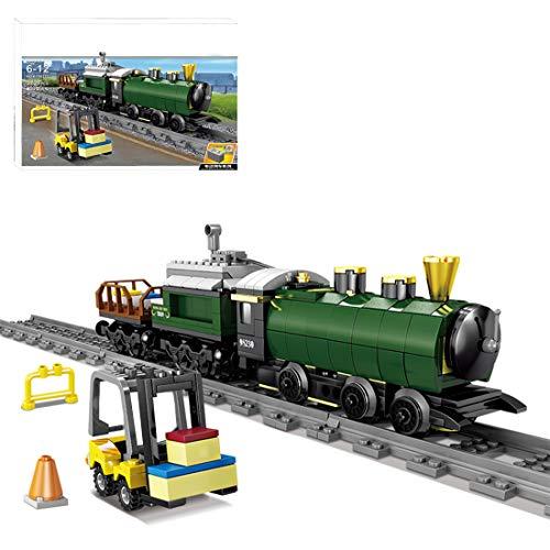 OATop 372 Teile City Güterzug Dampfeisenbahn Baustein Modell, City Zug mit Schienen Bauset Kompatibel mit Lego