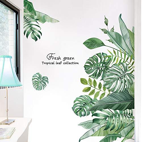 Wandtattoo Blätter Grün Wandbild Tropische Pflanzen, TANOSAN DIY Blätter Grüne Wandaufkleber Wohnzimmer Schlafzimmer Flur Wanddeko