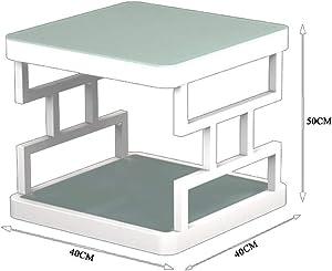 Q-HL Mesitas de Café Mesa, Mesa de Centro del Lado de la Sala de Estar de la Tabla de la Tabla Lateral de Cristal Moderada del sofá Mesa de Centro del Lado del sofá (Color : Negro, Tamaño : 40CM)