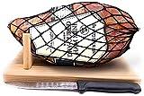 Serrano Ham Boneless with Ham Stand & Knife - Spanish Jamon Serrano Approx. 1 Kg or 2.2 lb - Jamonprive - GMO Free and Gluten Free