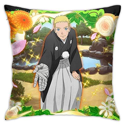 Naruto Uzumaki Naruto - Fundas de almohada cuadradas de felpa con impresión decorativa suave para sala de estar, sofá, cama, decoración del hogar, 45 x 45 cm
