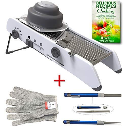 Extra Sharp Mandoline Slicer  Vegetable Slicer and Dicer  Julienne Cutter with Cut Resistant Gloves and Sharpener Bundle  3 items