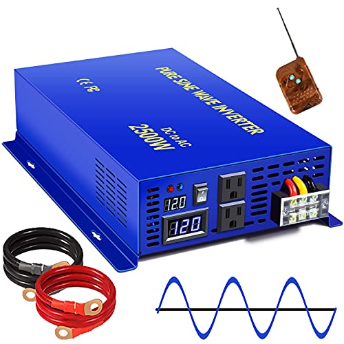XYZ INVT Pure Sine Wave Inverter 2500W 24V DC to 110V 120V AC with Wireless Remote Switch, 5000 watt Surge, Power Converter for RV, Camping, Solar System, Grid Off.
