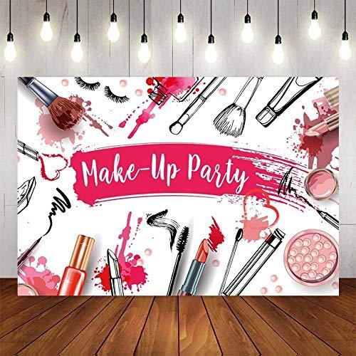 Fondo de Fiesta de Maquillaje de Belleza para niñas Adolescentes Maquillaje Ducha lápiz Labial telón de Fondo Cabina de Fotos Estudio Foto Prop A1 5x3ft / 1.5x1m