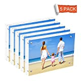 NIUBEE 5 Pack Acrylic Picture Frames 5x7 inches, Clear Double Sided Magnetic Photo Block Frame, Frameless Desktop Display with Retail Gift Box Package