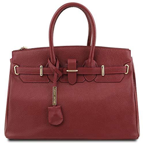 Tuscany Leather TL Bag - Handtasche aus Leder mit goldfarbenen Beschläge - TL141529 (ROT)