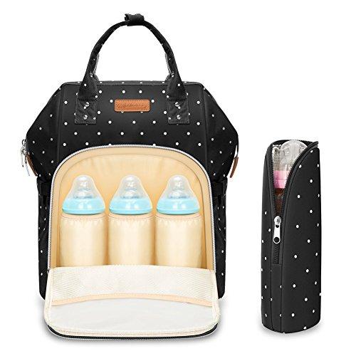 Multifunción pañal bolsa de pañales cambiador de viaje, gran capacidad mochila bolsa reutilizable, ligero elegante Durable Mochila con bolsillo botella aislante para mamá y papá, Pot Negro