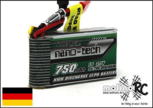 Turnigy nano-tech Batteria Lipo 750 mAh 1S 3.7 V 35C-70C adatta per WALKERA V120D02S / QR Intra X / QR W100S