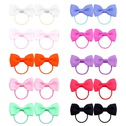 Belle Beau Baby Girls Bow Elastic Ties,Ponytail Holders,Hair Bands,Hair Elastics,Value Set (B)