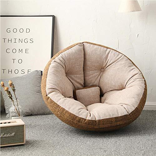 Cómodo sofá Perezoso Individual puf sillón reclinable pequeño apartamento Dormitorio Linda Chica Tatami Sala de Estar sofá-M-Lino-Azul