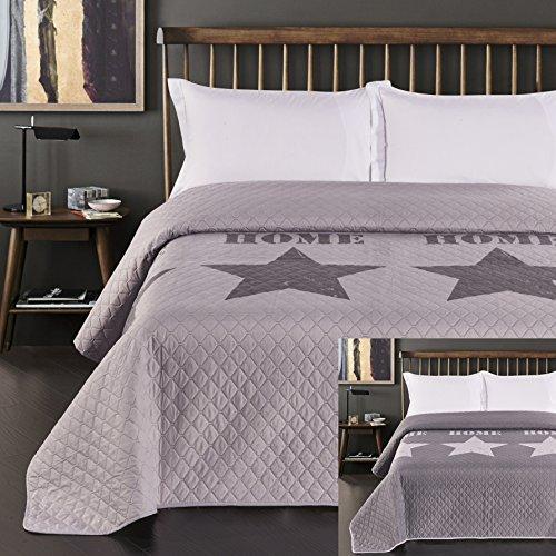 DecoKing 77245 Tagesdecke 240x260 cm Silber Stahl anthrazit Bettüberwurf zweiseitig Steel Silver Steppung Starly