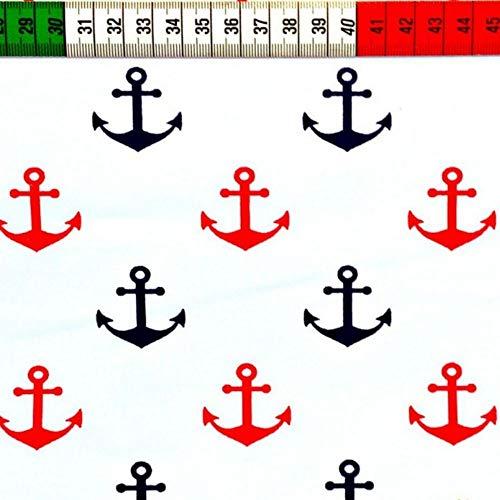 Pingianer 11,99€/m Anker 100% Baumwolle Baumwollstoff Kinder Meterware Handwerken Nähen Stoff (Anker Weiß Rot Blau, 100x160cm (11,99€/m))