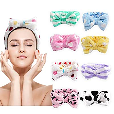 Bow Hair Band Bow Headbands,Cubaco Soft Carol Fleece Hairlace Headband Bowknot Bow Makeup Shower Headbands Head Wraps for Washing Face Shower Spa Mask,8 Colors