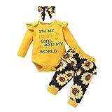YAAY Conjunto de 3 piezas para bebés recién nacidos y niñas con estampado de letras del mundo de papá y mamá de manga larga con volantes y estampado floral