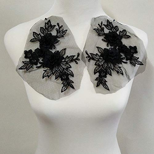 2 Pcs Colored 3D Flower Lace Applique Embroidered Material Trim for DIY Wedding Dress Veil Accessories (Black)