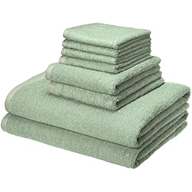 AmazonBasics Quick-Dry Towels - 100% Cotton, 8-Piece Set, Seafoam Green