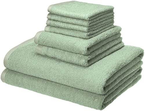 Amazon Basics Quick-Dry, Luxurious, Soft, 100% Cotton Towels, Seafoam Green - 8-Piece Set