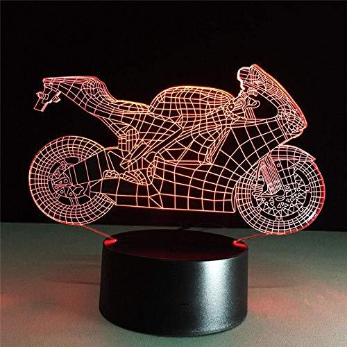 Lámpara de ilusión 3D Luz de noche LED Rápida y furiosa Acción de motocicleta Lámpara de mesa óptica táctil de 7 colores Modelo de decoración del hogar Los mejores regalos de vacaciones de cumple