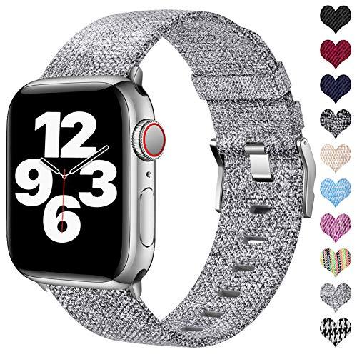 Ouwegaga Compatible con Apple Watch Correa 38mm 40mm 42mm 44mm, Correa de Tela Tejida Nylon de Repuesto Compatible con Apple Watch SE/iWatch Series 6 5 4 3 2 1, Gris 38mm/40mm