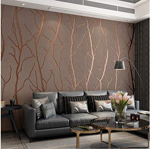 Vlies Tapete 3D Wandtapete Beflockende Aststreifen 9.5mx0.53m Tapete TV-Hintergrund Brauner Kaffee Tapete für Verzieren Küchen-Schlafzimmer-Wohnzimmer