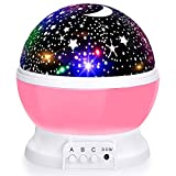Baby Night Lights, Moon Star Projector 360 Degree Rotation - 4 LED Bulbs 8 Color Changing Light, Romantic Night Lighting Lamp, Unique Gifts for Birthday Nursery Women Children Kids Baby