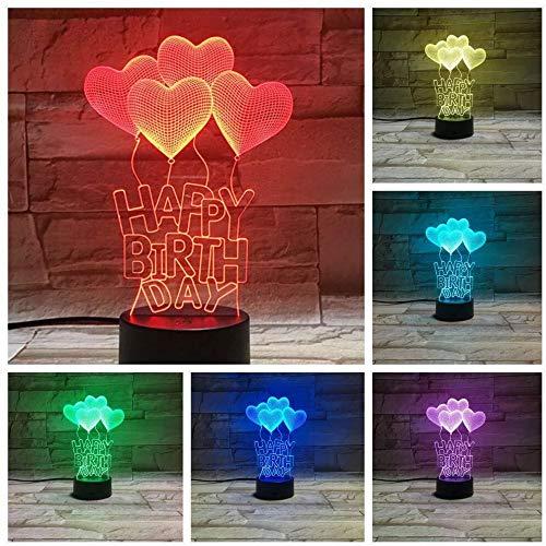 Illusion 3D LED Love Heart Balloon Lamp capteur tactile 7 couleurs bureau lampe de chevet garçon festival enfant cadeaux d'anniversaire de charge USB lumière de nuit