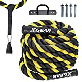 XGEAR Heavy Battle Rope,Anchor Strap Kit/Wall Hanger Included - Exercise Training Rope 100% Poly Dacron/Undulation Ropes for Strength Training, Cardio Workout, Climbing - 1.5' in Dia, 30ft / Yellow