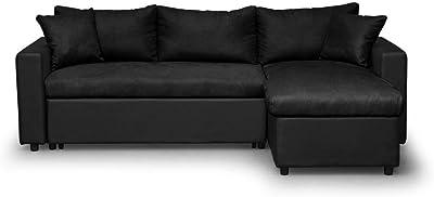 Loungitude Canapé d'angle réversible, convertible avec coffre  en PU noir et MF noire