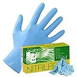 Guantes desechables de nitrilo azul sin látex, paquete de 100 unidades NitrilPro