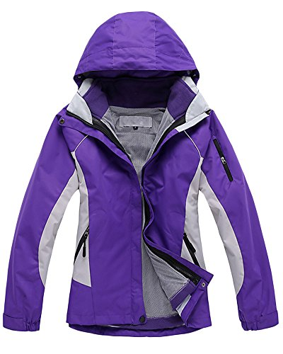 Qitun Damen 3 in 1 Outdoor Jacken Skifahren Bergsteigen warm Winddichte Bekleidung atmungsaktive Klettern Kleidung Violett S