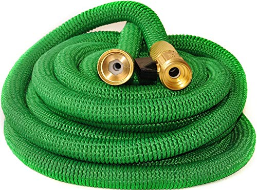 Riemex Expandable Hose Green 25 FT Heavy Duty Garden Water Hose - Triple Latex - Expanding Solid Brass Metal Fittings Connectors, Flexible Strongest - for All Watering Needs Green 25FT