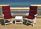 KETTLER Caribic Multi-Position Chair 3 Piece Lounge Set with Cushion (Jockey Red)