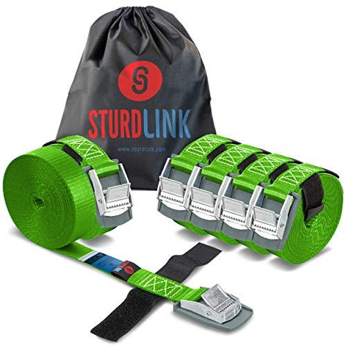 Sturdlink Juego de 6 Pequeñas Correas de Sujeción 25mm 250kg con Hebilla Rápida y Sistema para Atar 4m + Bolsa, para Bicicletas, Porta Equipajes Coches Techo, Remolques, Surf, Canoas, Carga