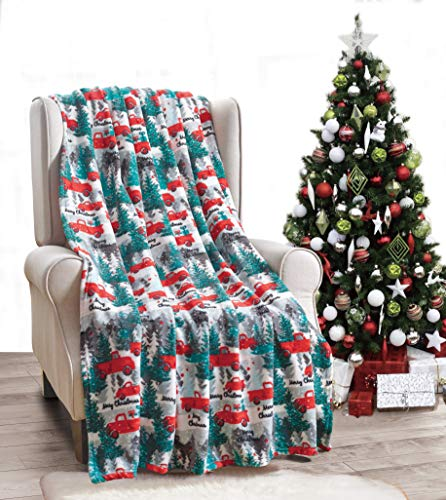 "Décor&More Festive Holiday Microplush Throw Blanket (50"" x 60"") - Christmas Pickup Truck"