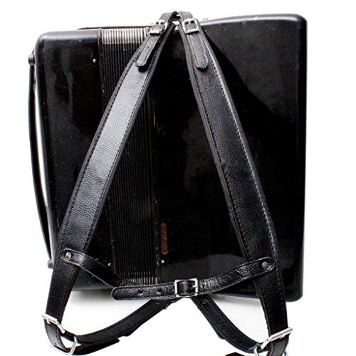 Music First - Juego de correas de acordeón acolchadas de piel auténtica de color negro para acordeones de 96 a 120 bajos, correa de hombro suave