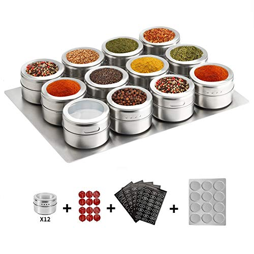 12 Magnetic Spice Tins,Stainless Steel Spice Jar Containers,with Wall Mounted Spice Jars Organizer,New Magnetic Spice Jar,Includes 120 Labelling Stickers.