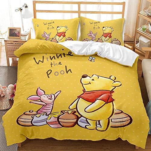 SK-YBB Winnie The Poo-h Juego de ropa de cama de dibujos animados de 3 piezas con cremallera, para niños y niñas, funda de edredón con funda de almohada (A17,220 x 260 cm - 50 x 75)