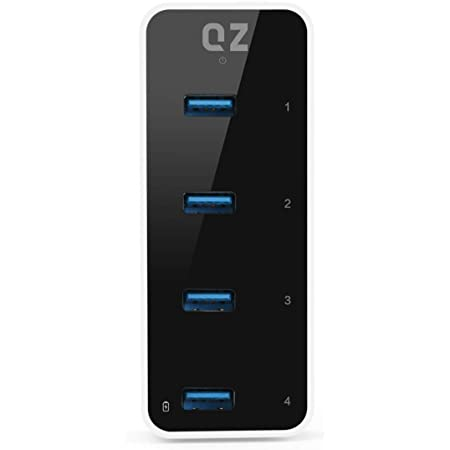 QZ Active Powered USB 3.1 Hub, 4 Port USB Hub with 12V 2A 24W Power Adapter, USB 3.1 Gen 1