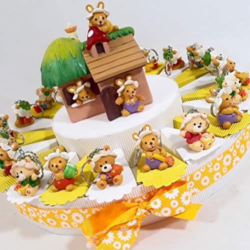 Torta bomboniera 20 fette con coniglietti e orsetti portachiavi + centrale salvadanaio (Torta da 20 fette + centrale salvadanaio casetta)