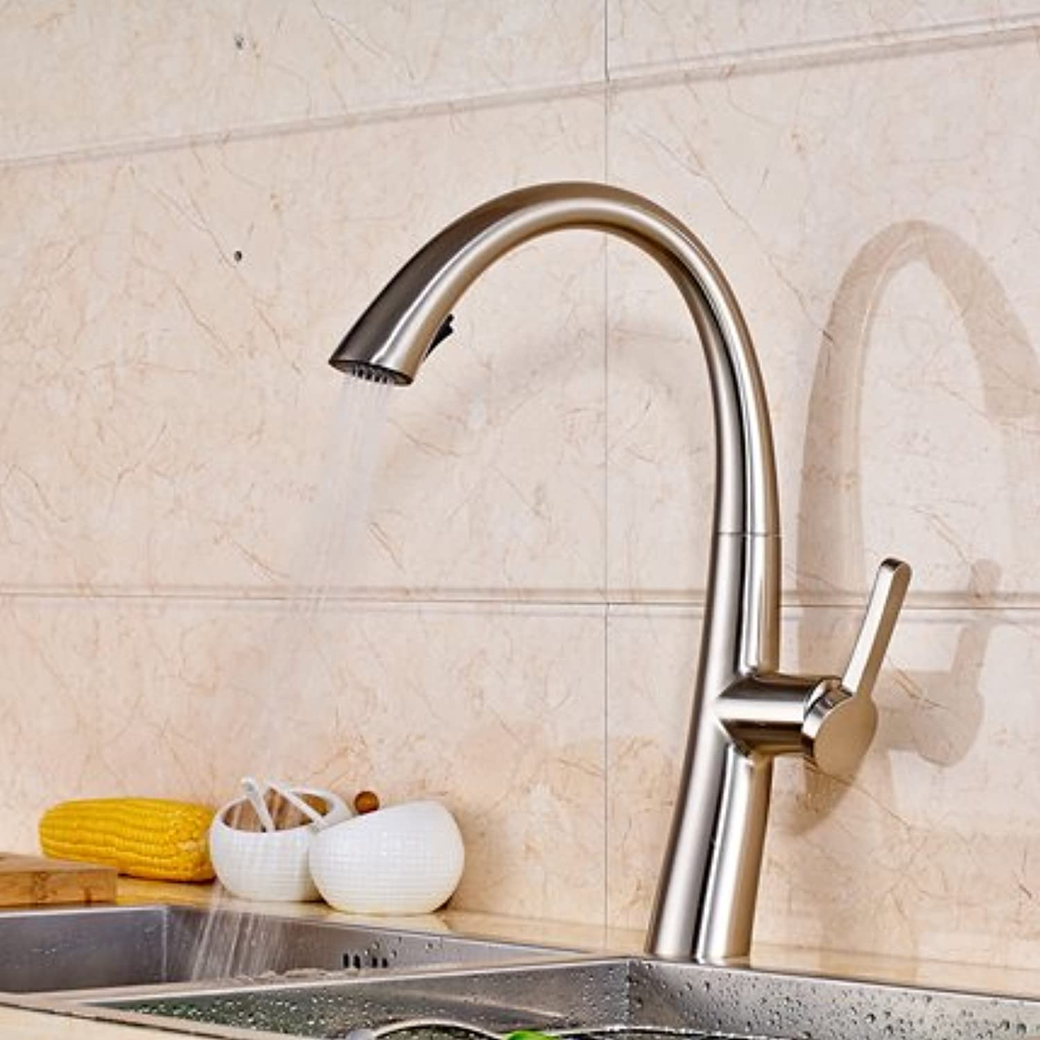 Maifeini Best Quality In The Deck Pull Out The Kitchen Sink Bathroom Faucets Single Handle Turn Feed Throat And Hot And Cold Kitchen Faucet,