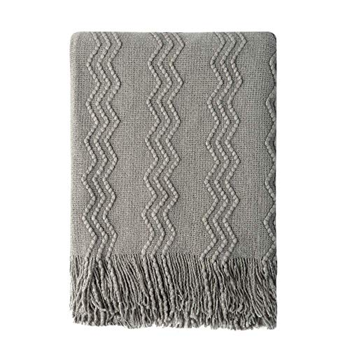 Bourina Textured Solid Soft Sofa Throw Couch Cover Knitted Decorative Blanket, Dark Grey, 125x152cm